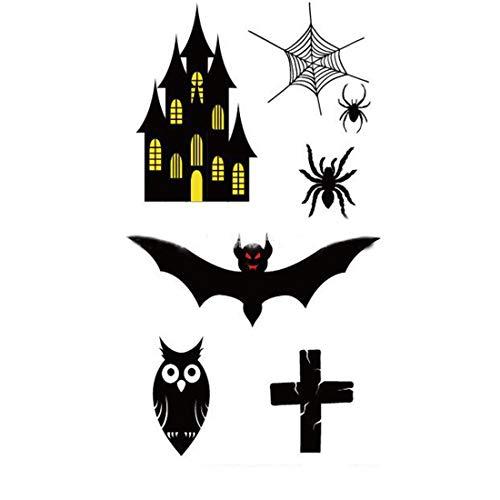 EROSPA® Tattoo-Bogen temporär - Halloween Spinnen-Netz Fledermaus Eule Kreuz