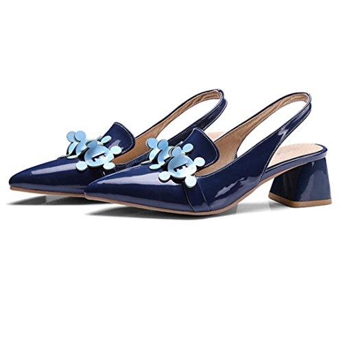 WZG Das neue Frau PU-Leder spitze Schuhe mit Blumen Schuhen in Baotou dick mit Code-Größe 32-48 Blue