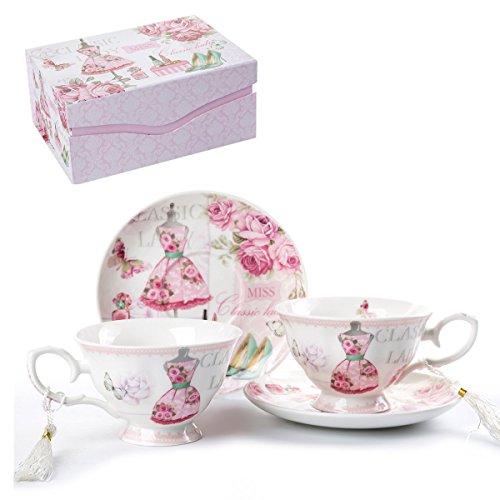 Kaffee Tee Tasse und Untertasse Set 2Shabby Chic Vintage Flora Porzellan Set Geschenk-Box, keramik, Pink Classic Lady, 11x8cm China Tee-set Für Zwei