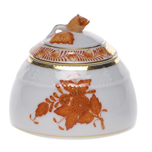 Herend Chinese Bouquet Rust Honey Pot With