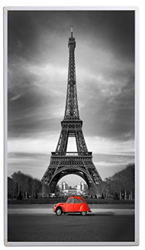 Könighaus Bildheizung (Infrarotheizung mit hochauflösendem Motiv) 5 Jahre Garantie (450-Eiffelturm Schwarz-Weiß & roter Ka)