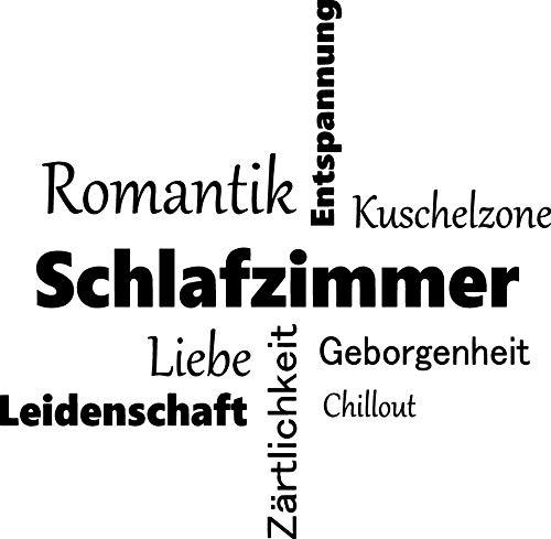 EmmiJules Wandtattoo Schriftzug Sprüche Zitate - Made in Germany - in verschiedenen Größen und Farben - Familie Schlafzimmer Wohnzimmer Wandaufkleber Wandsticker (60cm x 60cm, schwarz) (Große Wand-aufkleber-zitate)