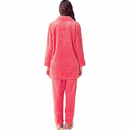 Coral Velvet Pyjamas femmes épais Suits hiver chaud à manches longues Service de flanelle Sweet Home ( couleur : Rouge , taille : M ) Rouge