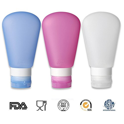 Tragbare Soft Silikon Reiseflaschen Set, Set Von 3 Leck Proof Reisecontainer Kulturbeutel TSA Genehmigt Kunststoffflaschen Flugreisen Zusammendrückbare Nachfüllbare Flasche (89ml/3oz Pink+ Blau+ Weiß) (Kosmetik Gucci Taschen)