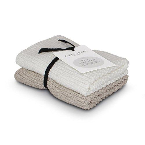 aspegren le Danemark - Manique Lot de 2 Vaisselle tricotée - Solid Sable 26 x26 cm