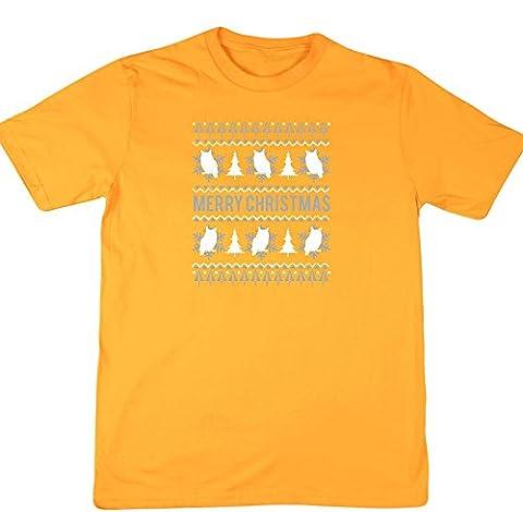 hippowarehouse Merry Eule Weihnachten Unisex Short Sleeve T-Shirt Gr. XX-Large, gold