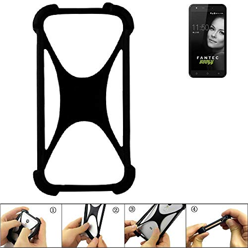 K-S-Trade Handyhülle für FANTEC Boogy Schutz Hülle Silikon Bumper Cover Case Silikoncase TPU Softcase Schutzhülle Smartphone Stoßschutz, schwarz (1x)