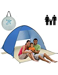 AOGETYO Instant Sun Shade Tent POP UP Family UV Play Beach Tent Cabana Anti UV Portable Automatic Kids Playing Sun Shelter for Camping Fishing Hiking (2-3 person blue)