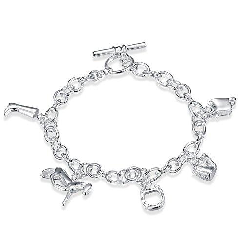 Argento Sterling 925 Gemme Lady rivestito braccialetto con vari rimorchi per cavalli