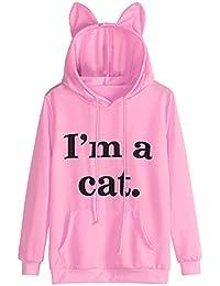 VJGOAL Moda Casual para Mujer Manga Larga Soy un Gato impresión de Letra Linda Oreja del Gato Sombrero Sudadera con Capucha Sudadera con Capucha Tops Blusa