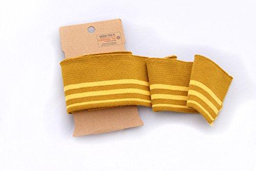 Leinen Lodge Cuff Bündchen - Streifen - bunt - verschiedene Farben - Ökotex Standard 100 (034 senf/gelb) (Fertig Senf)