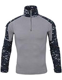CHyaog Homme Pull Manches Longues Uniforme Militaire Camouflage Chemises de  Combat Attaque Rapide Costume Vêtements de fcb459c2b86
