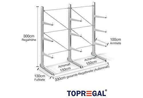 3,3m Kragarmregal verzinkt, 300cm hoch, 100cm tief, 3 Kragarmebenen - Langgutregal Schwerlastregal