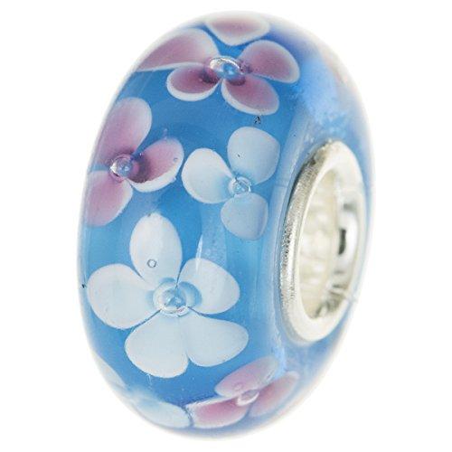 Rund Blume hellblau rosa weiß Glas Perle für europäische Charm Armband ()