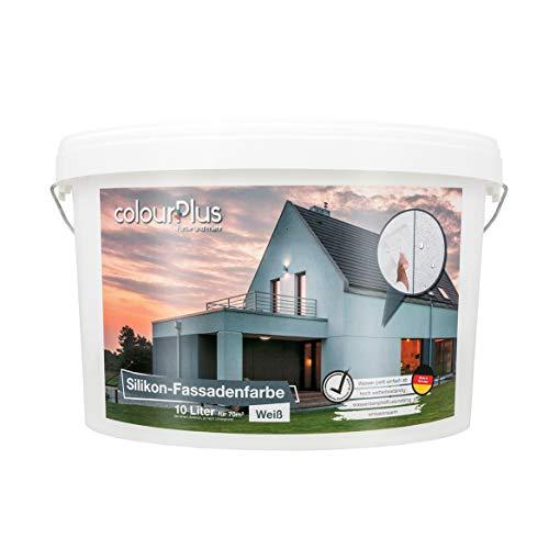 colourPlus Silikon-Fassadenfarbe (10 Liter, weiß), für einen Fassadenanstrich mit selbstreinigendem Abperl-Effekt im Außenbereich, Made in Germany