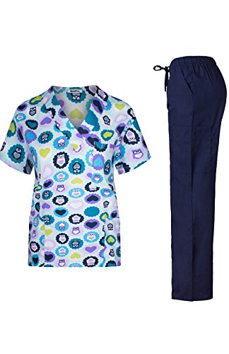 MedPro Women's Medical Scrub Set With Printed V Neck Top and Cargo Pants