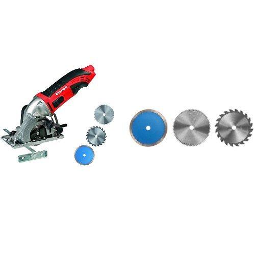 Einhell TC-CS 860 Kit -Mini sierra circular (potencia: 400 W, revoluciones) + Juego de hojas de sierra  (85 x 10 mm, 6 unidades)