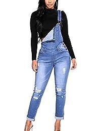 ShiFan Peto Vaquero Talla Grande para Mujer Pantalones Jeans con Bolsillo  En El Pecho 19c494048f8