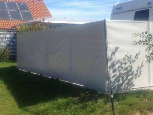 ! Windschutz Sichtschutz Camping aus LKW Plane (LKW-Planenqualität) stabil m. Laschen&Ösen (1,2m x 5m, Lichtgrau RAL7035)