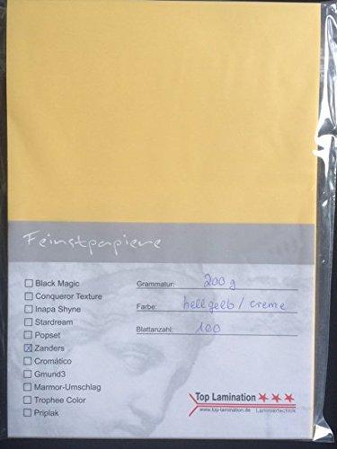 Top Lamination 100 Blatt DIN A6 Transparentpapier gelb/creme 100g/m² exzellente Durchsicht, sehr...