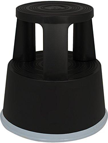 Rollhocker Elefantenfuß Tritthocker aus Kunststoff, Farbe: schwarz, TÜV- und GS-geprüft nach EN 14183