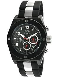 gino franco Men s 9657BK Marathon Round Chronograph Black PVD Plated Stainless Steel Watch