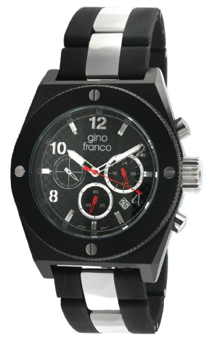 gino franco Men's 9657BK Marathon Round Chronograph Black PVD Plated Stainless Steel Watch