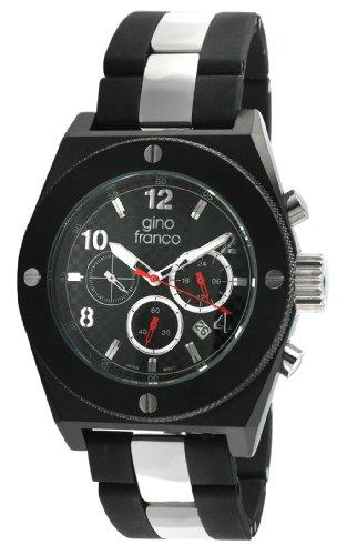 gino franco Men's 9657BK Marathon Round Chronograph Black PVD Plated Stainless Steel Watch
