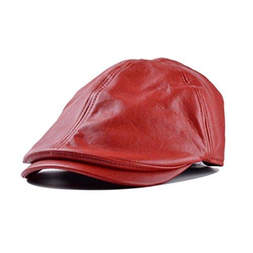 Saingace Mode Kappe,Herren Damen Vintage Leder Beret Cap Schirmmütze Ballon- Sunscreen (Rot)