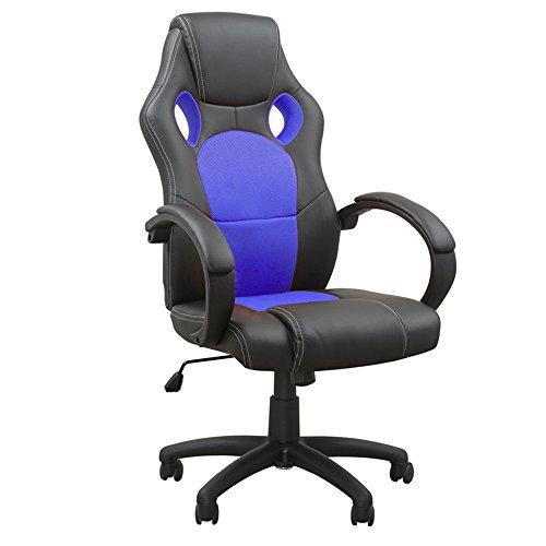 Astro-stuhl (MCTECH® Chefsessel Bürostuhl Schreibtischstuhl, Komfort PU Leder Kunstleder Chefsessel, Drehstuhl mit Armlehnen, Ergonomisch Wippfunktion und Höhenverstellbar (Type A, Schwarz-Blau))