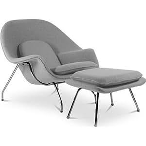 Fauteuil Womb avec ottoman - Style Eero Saarinen - Tissu Gris clair