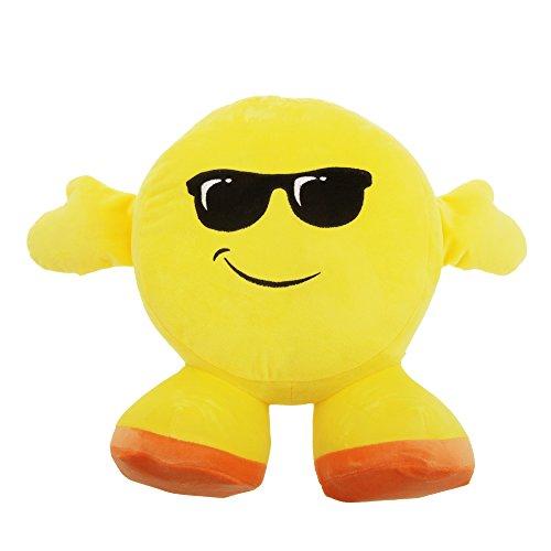 Smiley Emoji Design Plüsch-Kissen mit Armen und Füßen (Einheitsgröße) (Sonnenbrille)
