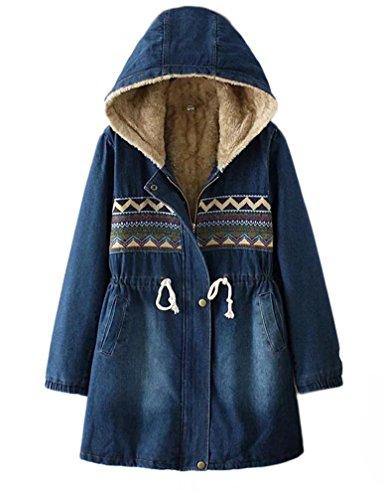 2017 Femme Veste à Capuche Col Fourrure Grande Hiver Manteau en Jean Denim Blouson Chaud Parka Veston Militaire Hoodie Coton Polaire Grand Taille Cordon de Serrage