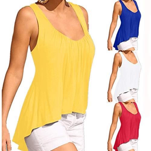 Yvelands Damen Tanktops Arbeiten Sleeveless T-Shirt Unregelmäßige mit V-Ausschnitt Solid Color Bluse Weste(Gelb,XL)