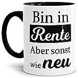 Tassendruck Geschenk-Tasse zum Ruhestand mit Spruch: Bin in Rente, Rente / Rentner/Pension / Abschieds-Geschenk - Innen & Henkel Schwarz