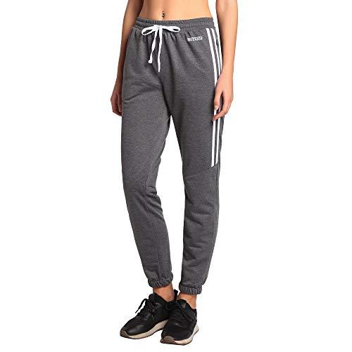 Ogeenier Damen Jogginghose Jogger Sweatpants Track Pants Soccer Training Workout Hose mit Taschen, Damen, Grey(mesh Panel Behind), X-Large -