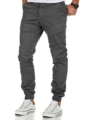 Amaci&Sons Jogger Cargo Herren Chino Jeans Hose 7008 Dunkelgrau W30