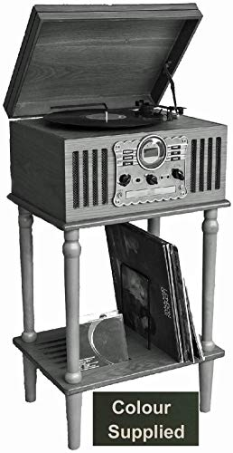Steepletone Westminster 2019 (with STAND) Nostalgic FM & DAB Radio 7 in 1 Music Centre: 3 Speed Record Player, CD Player, Cassette Player, USB/MP3 RECORDING, Remote Control, Real Wood Veneer (Dark)