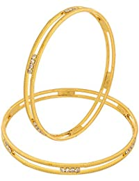 The Luxor Australian Diamaond Studded Gold Plated Bangles For Women
