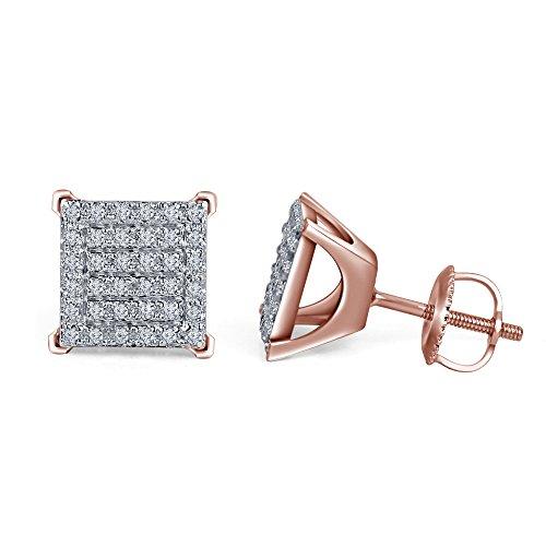 lilu Bijoux Rond Brillant Coupe blanche véritable diamant Boucles d'oreilles clous en argent sterling 925Vis Arrière 14k Rose Gold Plated