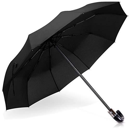 DORRISO Luxus Automatisches Öffnen/Schließen Regenschirm Windsicher Echt J-Holzgriff Dauerhafte Geschäft Reise Taschenschirm J-Griff Schwarz
