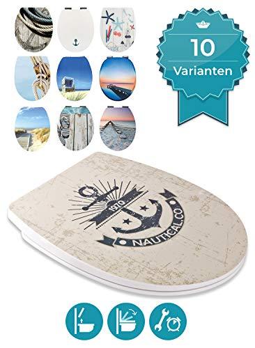 Calmwaters WC Sitz Maritim Motiv Marine, Absenkautomatik & abnehmbar, Toilettendeckel günstig, Top-Fix-Befestigung von oben, universale O-Form, Thermoplast, Komfort Toilettensitz preiswert, 26LP5406
