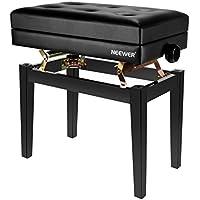 Neewer NW-007 Banco de Piano Acolchado de Lujo Ajustable - Taburete Sin Respaldo de Cuero, Construcción de Madera Sólida con Capacidad de Carga de Hasta 250 Libras / 110 Kilogramos (Negro)