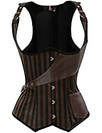 Grebrafan Brown Striped Corsés Corset de Encaje Steampunk Underbust Waist Training Top