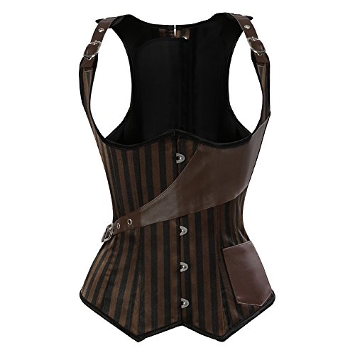 Grebrafan Brown Striped Corsés Corset de Encaje Steampunk Underbust Waist Training Top (EU(32-34) S, Brown)