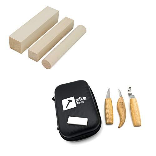 Zite Tools Schnitzset 8-teilig - 3 Schnitzmesser, Hardcase, Schleifstein + Schnitz-Holz Linden-Holz zum Schnitzen