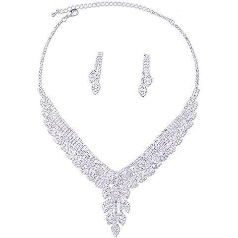 topwholesalejewel novia Cluster Flor lágrima cristal plateado Juego de Collar y Pendientes para boda