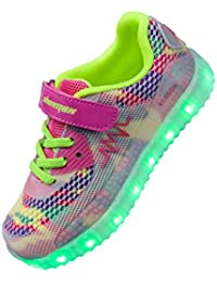 LED Zapatos,Shinmax Primavera-Verano-Otoño Transpirable Zapatillas LED 7 Colores Recargables Luminosos Zapatos de Deporte de Zapatillas con Luces Para Niños Chicos Chicas con CE Certificado