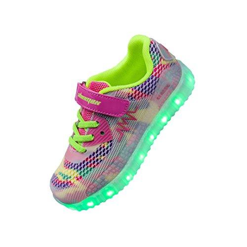 Shinmax Frühling-Sommer-Herbst-Breathable LED Schuhe 7 Farben USB Aufladbare Leuchtschuhe Kinderschuhe mit CE-Zertifikat für Halloween Weihnachten Dank Giving Day Rosa