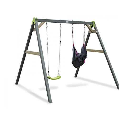 Preisvergleich Produktbild EXIT Aksent Doppelschaukel (2 Sitze) und 1 SwingBag rosa-schwarz / Material: Nordisches Fichtenholz / Maße: 235x265x217 cm / Gewicht: 40 kg